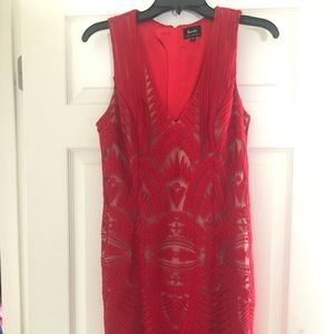 Bardot Red Sheer Dress with Nude attached slip